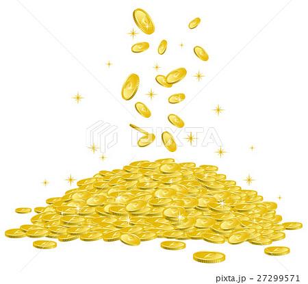 山積みされたコインに降り注ぐ複数のコイン イメージイラスト 27299571