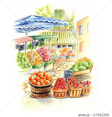 南ヨーロッパの風景・果物マルシェ 27302260