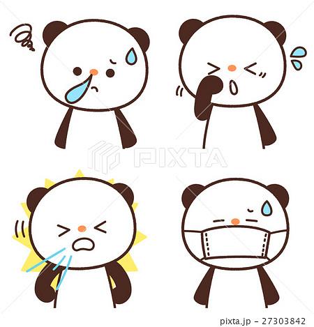 花粉症の症状(鼻水・くしゃみ・目のかゆみ・マスクをかける)のパンダキャラクター セット ベクター 27303842