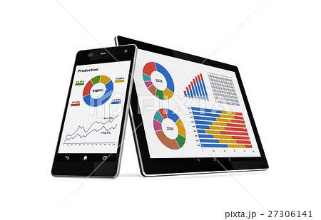 ビジネス資料をモニターするスマートフォンとタブレットPC 27306141