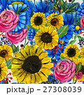 Seamless pattern with blue yellow and pink flowers 27308039