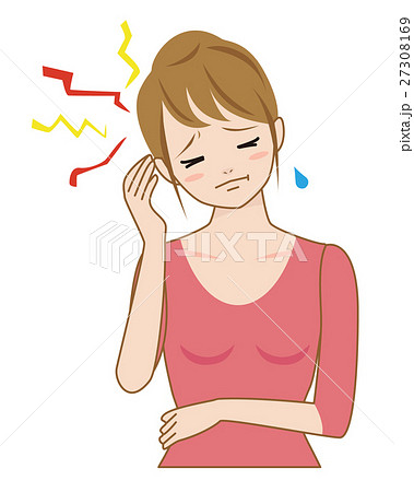 女性 頭痛 片頭痛 頭が痛いのイラスト素材 [27308169] - PIXTA