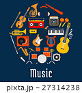Music round symbol with musical instruments 27314238