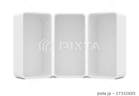 Three blank empty rounded showcase display 27332605