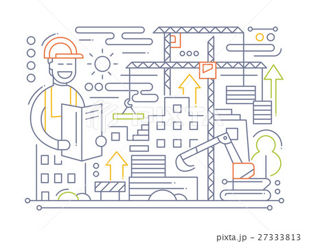 Construction Site - line design compositionのイラスト素材 [27333813] - PIXTA