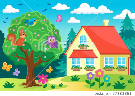 Tree with animals near houseのイラスト素材 [27333861] - PIXTA