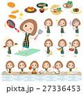 Bob hair green dress woman cooking 27336453