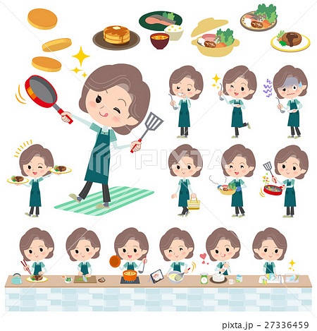 Blue-green wear Middle woman cooking 27336459