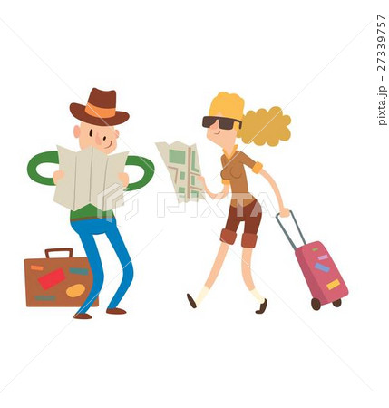 Couple with maps vector. 27339757