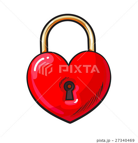 Traditional red heart shaped padlock for love lock 27340469