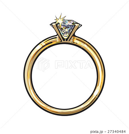 Golden engagement ring with a big shining diamond 27340484