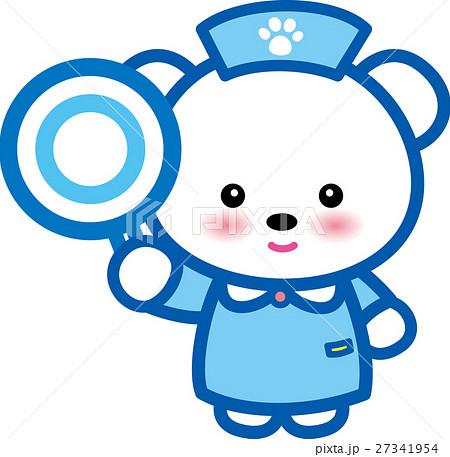 アニマルナース 可愛い 動物の看護師さん クマさん 青〇 足跡 27341954