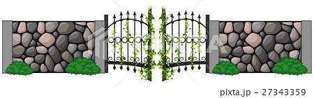 Metal door and stone wallのイラスト素材 [27343359] - PIXTA