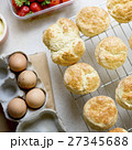 Baked Scone Pastry Eggs Strawberry Concept 27345688