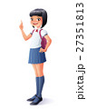 Vector school girl finger pointing up with idea 27351813