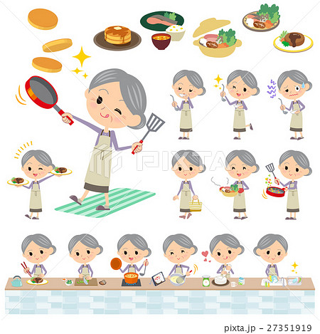 Purple clothes grandmother cooking 27351919