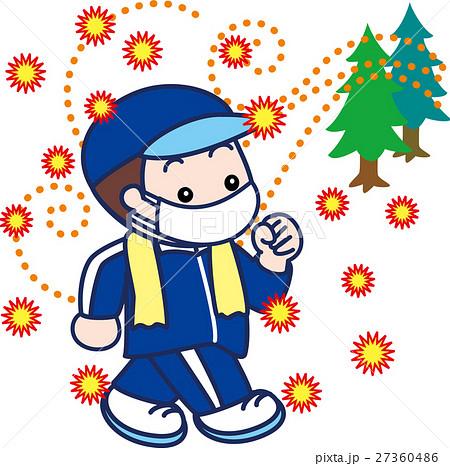 マスクをしてウォーキングする男性 花粉症インフルエンザ対策 27360486