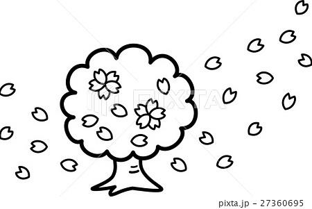 桜木 花びら 満開 花 白黒塗り絵のイラスト素材