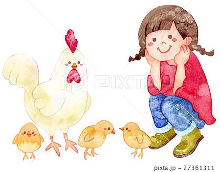 にわとりの親子と女の子 27361311