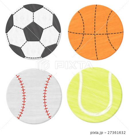 フェルトワッペン風のサッカー・野球・バスケ・テニスのボールモチーフ 背景透過・白背景 27361632