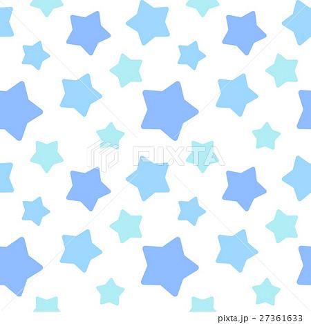 大きめランダム星柄シームレスパターン 青系 白背景・ベクター 27361633