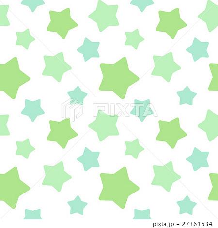 大きめランダム星柄シームレスパターン 緑系 白背景・ベクター 27361634