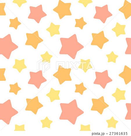 大きめランダム星柄シームレスパターン オレンジ系 白背景・ベクター 27361635