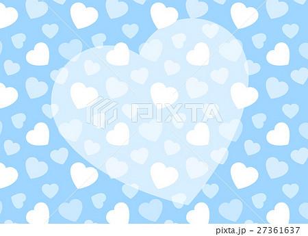 ハート柄背景とハートのかわいいコピースペース ブルー 横方向 ホワイトデー 27361637