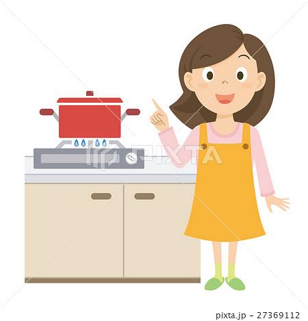 お母さん 料理 イラストのイラスト素材 27369112 Pixta