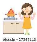 女性 火事 人物のイラスト 27369113