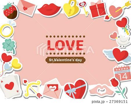 バレンタイン カラフルアイコンのフレーム素材 27369151