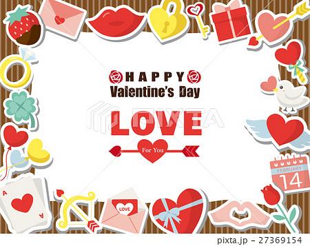 バレンタイン カラフルアイコンのフレーム素材 27369154