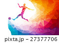 Soccer player. Footballer kicks the ball in trendy 27377706