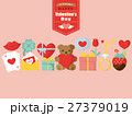 バレンタイン カラフルアイコンのカード 27379019