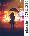 lonely woman with umbrella in night city 27381230