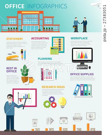 office infographics flat templateのイラスト素材 27383051 pixta