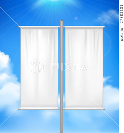 Blank Double Advertisement Banner Realistic image 27383101