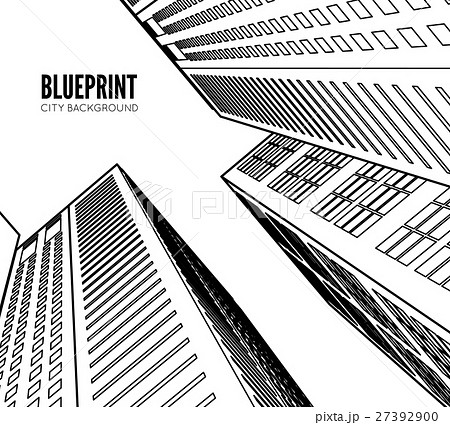 building wireframe 3d render city のイラスト素材 27392900 pixta