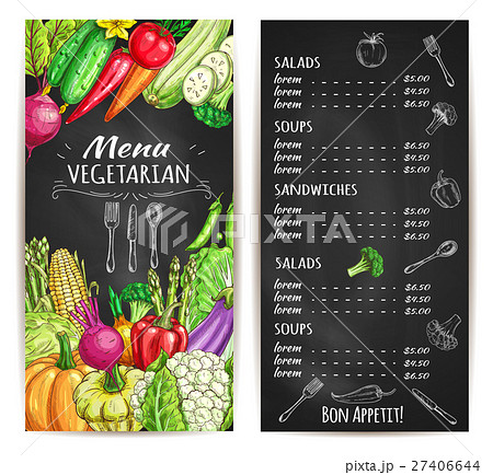 Vegetarian restaurant menu chalkboard with veggies 27406644