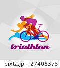 Color flat logo triathlon. Vector figures 27408375