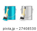 Steel Can Bucket and Paint Brush. Vector 27408530