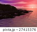 岩礁帯の海 日没 27415376