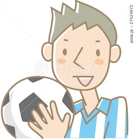 サッカーボールを持つ若い男性(水色) 27424672