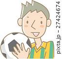 サッカーボールを持つ若い男性(オレンジ緑) 27424674
