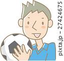 サッカーボールを持つ若い男性(青) 27424675