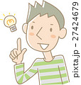 ひらめいている若い男性(緑) 27424679