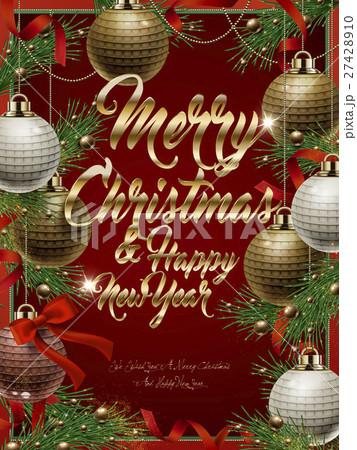 merry christmas template designのイラスト素材 27428910 pixta