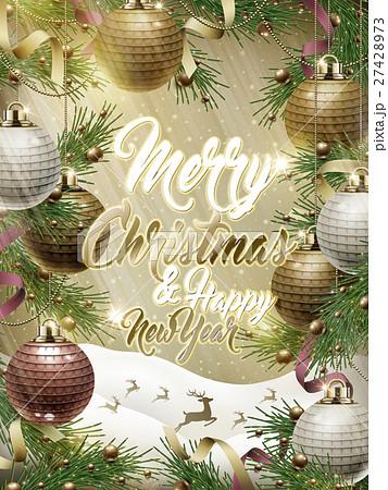 merry christmas template designのイラスト素材 27428973 pixta