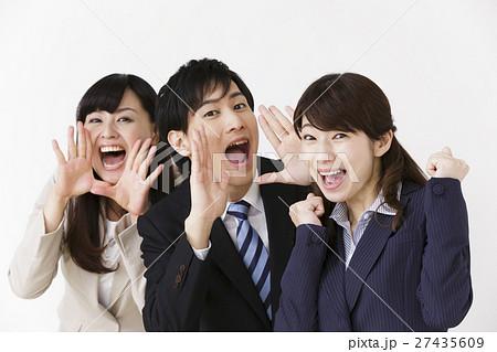 ビジネス 女性 男性 人物 男女 ガッツポーズ ビジネスマン 叫ぶ 呼ぶ 声 大声 応援 声援 27435609