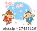 桜吹雪 カップル 男女のイラスト 27438126
